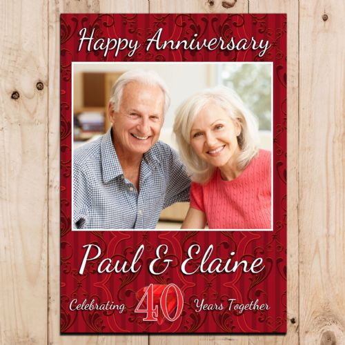 Personalised 40th Ruby Wedding Anniversary Party PHOTO Banner Poster N71